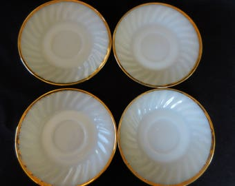 Vintage Fire King Saucers Set of four/White Swirl with Gold Trim
