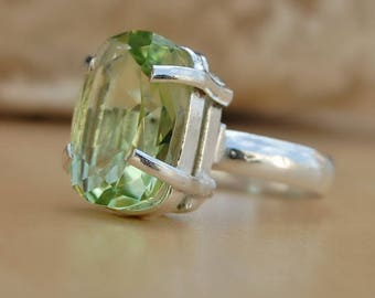 Green prasiolite Ring, cushion cut green amethyst sterling silver ring, Prasiolite Solid silver ring Jewelry