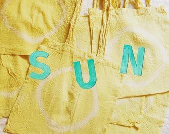 SUN natural dye cotton tote bag (1-1) record LP eco friendly vegetable dye fruit dye yoga meditation organic Mango Yellow Tropic