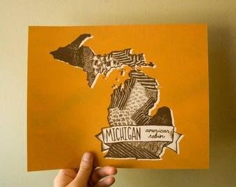 Michigan State Bird Print- American Robin, 8x10 inches.