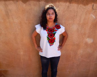 Authentic White Mexican Blouse-Red Roses