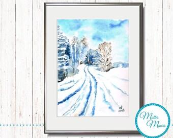 """Watercolor """"Winter Walk"""" original painting"""