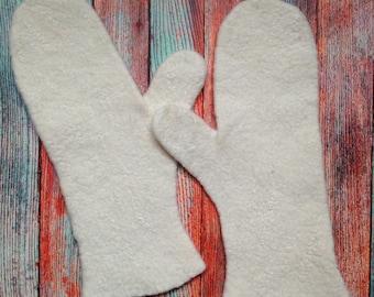 FELTED MITTENS - Merino Wool mittens - Handmade