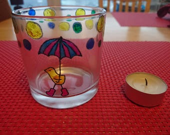 Rain Duck bubbles Hand Painted glass tealight holder decoration