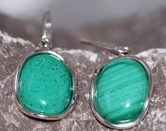 Malachite Earrings. Unusual light green shade of Malachite in sterling silver setting. Handmade & unique.