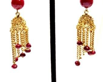 Cute simple ruby dangling jumkha style
