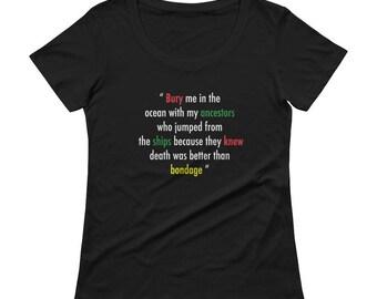 Killmonger Quote: Death > bondage Ladies' Scoopneck T-Shirt
