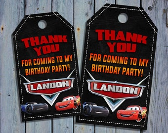 Cars 3 Birthday Thank You Tags, Cars Movie Favor Tag, Lightning Mcqueen Printable, Racing Digital Labels, Goody Bag Tags, Hang Label Tags