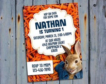 Peter Rabbit Invitation, Peter Rabbit Birthday, Mr. Tod Party, Bunny Card Invites, Rabbit Digital Printables, Movie Printable Invitations