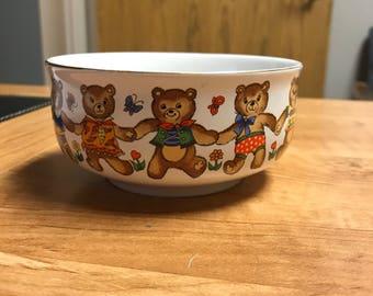 Vintage Action Japan Ceramic Child's Teddy Bear Bowl