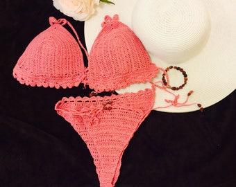 Bikini Rosa Croche