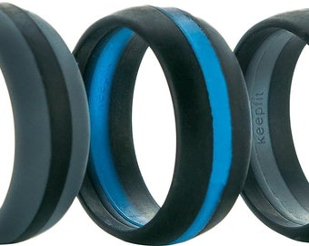 Men's Silicone Ring Striped Wedding Band for Men 3 Pack