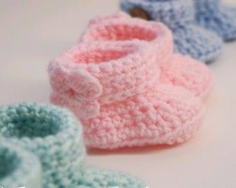Newborn Baby Booties Crocheted Soft Boys/Girls Boots Socks 3pcs