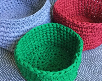 Eco Storage // Jersey Crochet Baskets // Storage Baskets // Crochet Storage // Bathroom // Bedroom