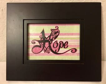 Breast Cancer Hope Silhouette with Wood Frame