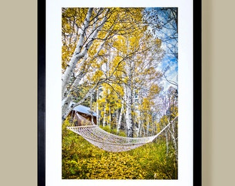 Faine art landscape print of the changing seasons of the Fall Aspens near Lake Tahoe