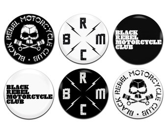 6x Black Rebel Motorcycle Club Band 25mm / 1 Inch D Pin Button Badges