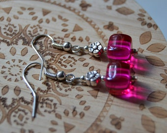 Pink and silver flower earrings, Jewellery, Gift