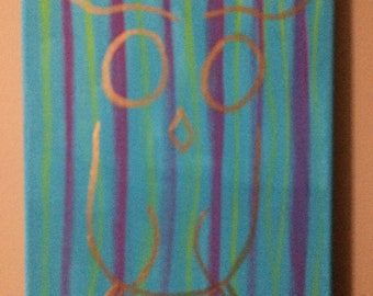 Abstract Owl painting original painting 8 x 10