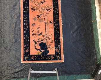 Antique Art Deco Chinese area rug.
