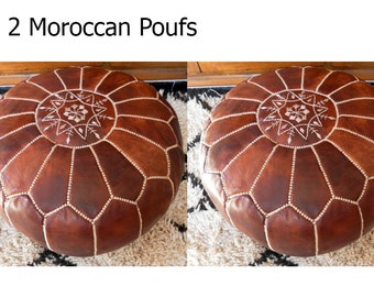 Moroccan Pouf set of 2 natural Leather poufs Floor pouf Leather Ottoman Moroccan Ottoman Tan pouf Natural leather pouf