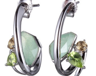 Sterling Silver Earrings With Green Quartzite, Citrine And Peridot