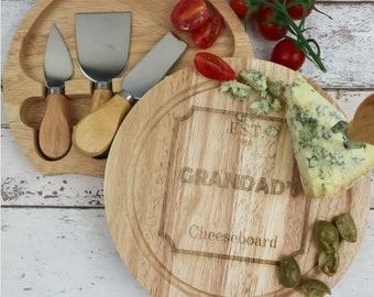 Personalised Grandad's Cheeseboard and Knives Set