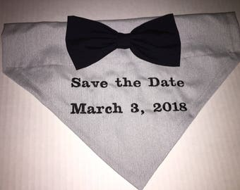 Dog Bandana, Save the Date, Wedding Announcement, Over the Collar, Bow, Engagement dog bandana, gift for dog lover, dog gift, photo bandana