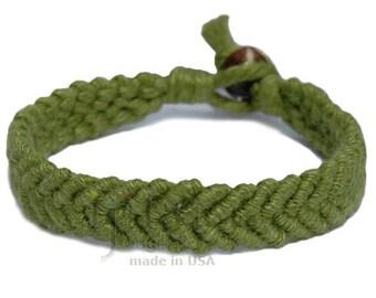 Pistachio hemp Feather bracelet or anklet