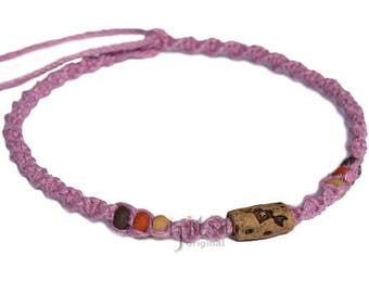 Rose pink twisted hemp necklace with ceramic Arrow through heart bead