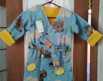 Bathrobe 3T for boy girl  double layered fleece. Multicolored animals n campfire on powder blue background. Top snap. Sash tie. Calf length.