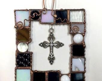 Stained Glass Framed Cross