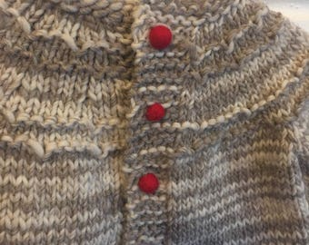 Hand Knit Baby Sweater in Natural Wool With Woolen Buttons