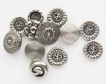 Silver Color Button Assortment | Small lot of buttons that look like silver or metal.  Mix of vintage buttons and contemporary.