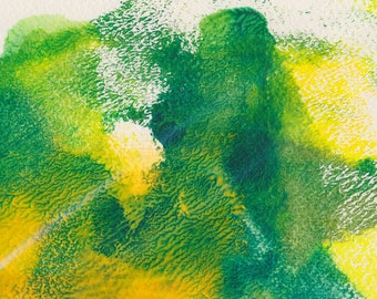 Fresh Spring #1 monoprint fresh greens and yellows