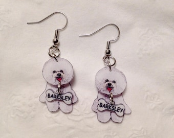 Handcrafted Plastic Bichon Frise Earrings Customized with your Dog's Name