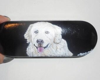 Hungarian Kuvasz Dog  Custom Hand Painted Eyeglass Case Vegan