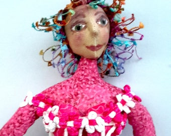 MATISSE in Pinks & White lace, One Of A Kind, Wall Art, Cloth doll, Bambole, textiles, michelledolls, Home Decor, Fantasy, Michelle Munzone