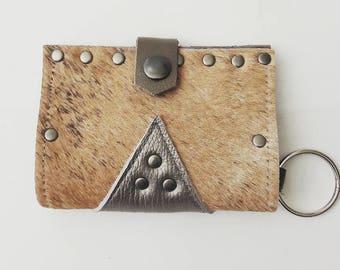 SALE Brindle Cowhide & Metallic Taupe Wallet