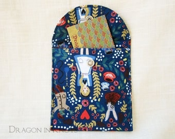 """Alice Accessory Pouch - Wonderland Royal Blue 4""""Case for Computer Mouse, Pocket Mirror, or Other Accessories; literary gift for book lover"""