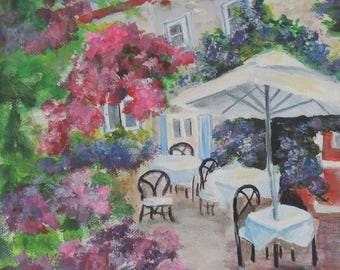Paris sidewalk cafe' 8x10 painting on stretched canvas