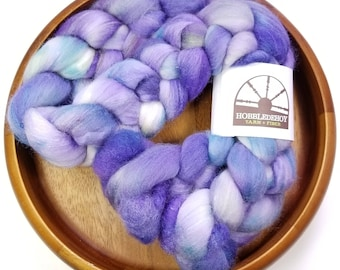 Boo berry - hand-dyed Polwarth wool and silk (4 oz.) combed top roving