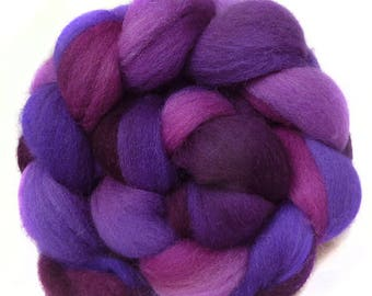 Shetland handdyed wool roving top spinning or felting fiber 3.4 oz