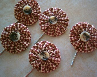 Sale Set of 5 YoYo Bobby Pins in Red and Cream Check Bobbi Pins, Hair Accessories, Willow Glass, OOAK