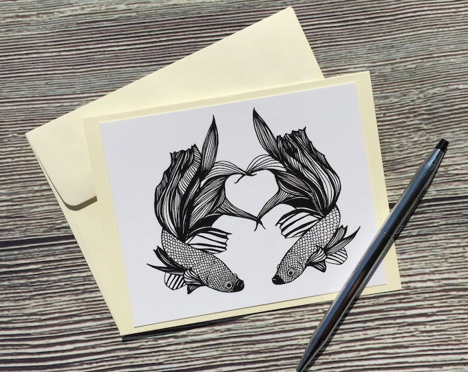 Featured listing image: Imperfect Symmetry Beta Fish Original Ink Drawing Print - Ivory Note Card