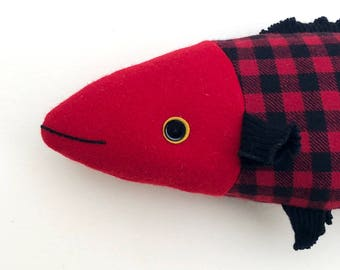 Red Buffalo Plaid wool fish pillow doll cabin ocean decor