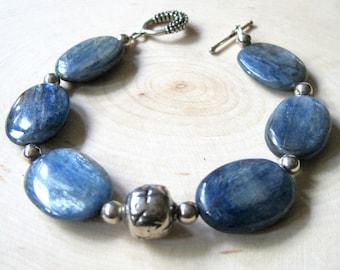 Blue Kyanite Bracelet, Large Oval Gemstones, Sterling Silver, Toggle Clasp, Genuine Stone, Modern Fashion Bracelet, One of a Kind