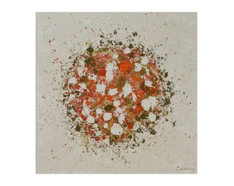 """ORIGINAL abstract painting on wood """"Petal Plosion"""" by Lisa Carney, 20x20"""", Contemporary abstract art, splatter painting, drip art, colorful"""