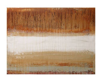 ORIGINAL Abstract Painting on Canvas in Warm Earth Tones, Lava Mist by Lisa Carney, Contemporary Landscape Art, Minimalist, Red Oxide, Brown