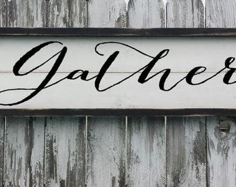 GATHER SIGN | Farmhouse Kitchen | Rustic Signs | FARMHOUSE Decor | Rustic Kitchen | Wood Framed Sign | Fixer Upper | Farmhouse Style |Rustic